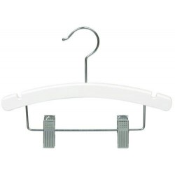 "Baby 10"" White Wood Combination Hanger"