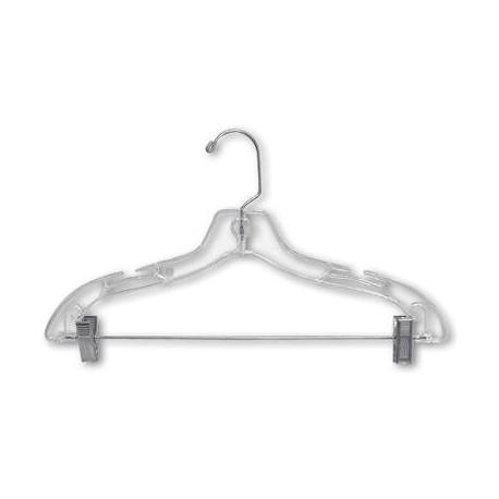 "Kids 12"" Clear Suit Hanger w/ Clips"