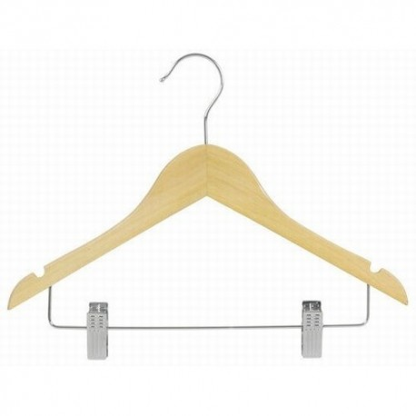 "Big Kids 14"" Natural Wood Suit Hanger w/ Clips"