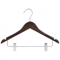 "Big Kids 14"" Walnut Combination Hanger"