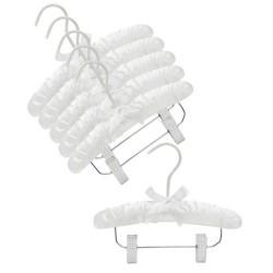"""Baby 10"""" White Satin Padded Hanger w/Clips"""