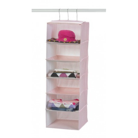 Pink Lattice Six Shelf Hanging Storage