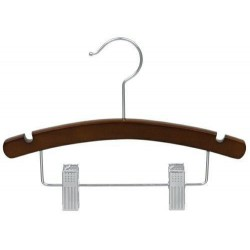 "Kids 12"" Walnut & Chrome Combination Hanger"